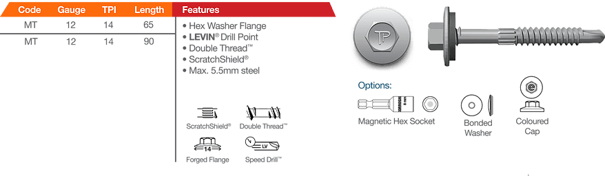 Tapperman Metapp Hex Washer Flange Levin Drill Point Roofing Fasteners